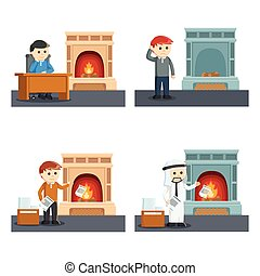 people with fire place set