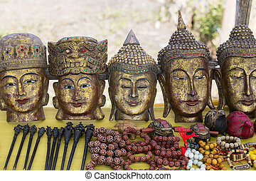 Hand made souvenirs on the market in Inle Lake. Myanmar -...