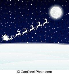 Santa Claus goes to sled reindeer