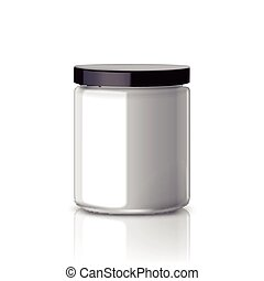 blank glass jar with black aluminum lid isolated on white...