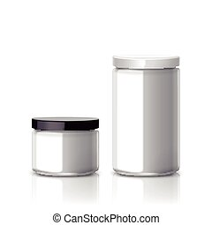 blank glass jar set isolated on white background