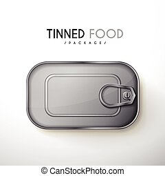 top view of tinned food package isolated on white background