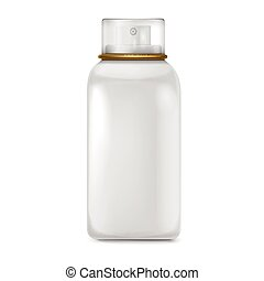 lovely white spray bottle with lid isolated on white...