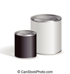 blank tin cans isolated on white background
