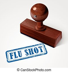 stamp flu shot in blue over white background