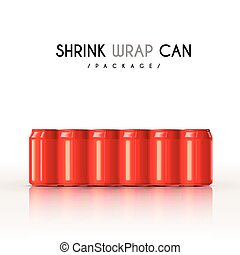 modern shrink wrap cans set isolated on white background