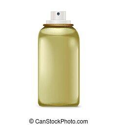 lovely green spray bottle isolated on white background