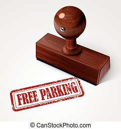 stamp free parking in red over white background
