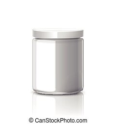 blank glass jar with white aluminum lid isolated on white...