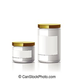 blank glass jar set with label isolated on white background