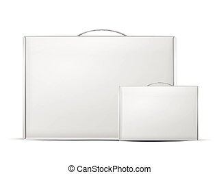 carton package boxes with handle isolated on white...