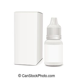 eye or ear drops bottles with box isolated on white...
