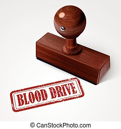 stamp blood drive in red over white background