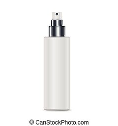 cosmetic white spray bottle isolated on white background