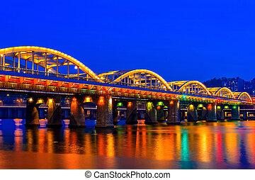 Hangang bridge at night in Seoul, South korea.