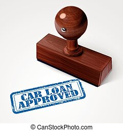 stamp car loan approved in blue over white background