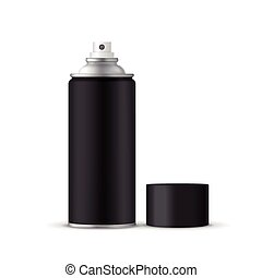 black spray bottle with lid isolated on white background