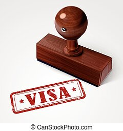 stamp visa in red text on white - stamp visa in red over...