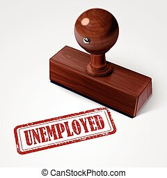 stamp unemployed in red text on white - stamp unemployed in...