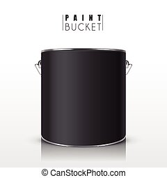 black paint bucket isolated on white background
