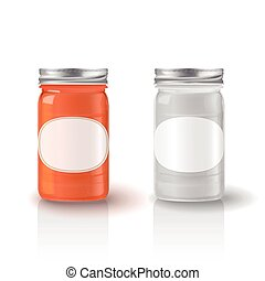 glass jar with jam isolated over white background