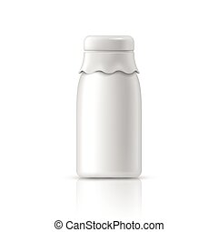 glass milk bottle isolated on white background