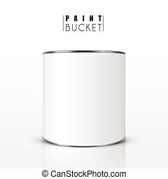 blank paint bucket isolated on white background