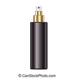 cosmetic black spray bottle isolated on white background