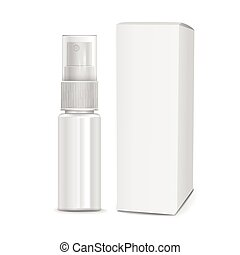 cosmetic spray bottle with paper package isolated on white...