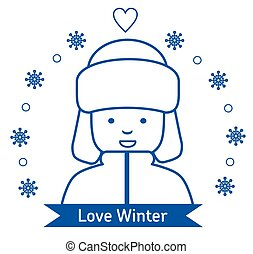 Winter kids activities line icon set. Flat illustration