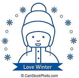 Winter kids activities line icon set. Web icon set. Flat style i