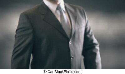 Future Businessman Holding in Hand Landmark New technologies...