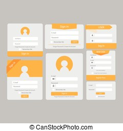Orange Transparent Register and Sign in Template.