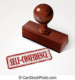stamp self-confidence in red over white background