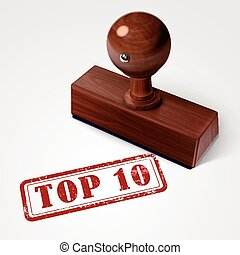 stamp top 10 in red over white background