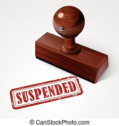 stamp suspended in red over white background