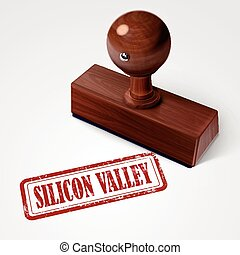 stamp silicon valley in red over white background