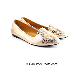 close up of pair ladies flat shoes