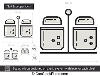 Salt and pepper line icon. - Salt and pepper vector line...