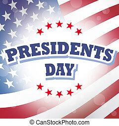 Presidents Day USA banner with american flag background