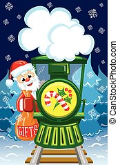 Santa on train - Santa goes by train with bag of gifts among...
