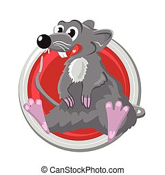 Rat. Orient horoscope sign isolated in circle