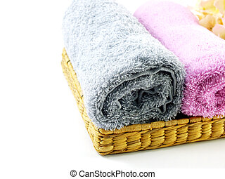 roll of towels isolated on white background