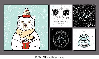 Polar Bear in red hat and winter backgrounds.