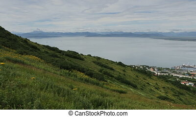 Avacha Bay and Petropavlovsk Kamchatsky stock footage video...