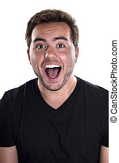 Happy Male on White Background - Portrait of a happy...