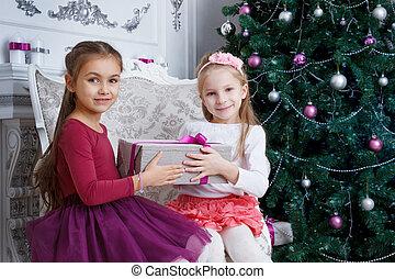 Gilrs holding Christmas gift near christmas tree - Two gilrs...