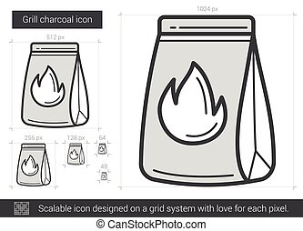 Grill charcoal line icon. - Grill charcoal vector line icon...