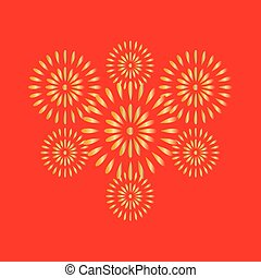Fireworks gold on red background