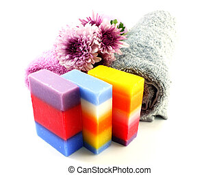 natural colorful mix fruit soap with towel and luffa for cleaning